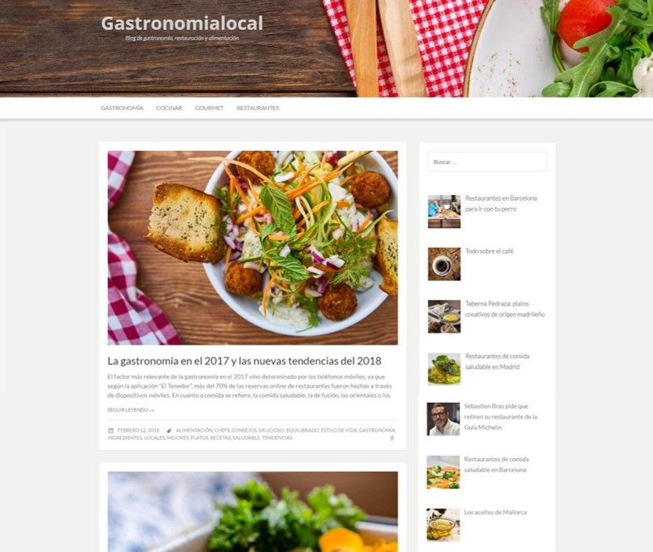Ejemplo de lo que puede ser un blog para restaurantes.